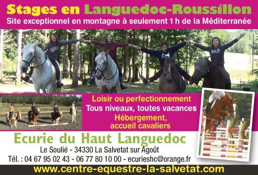 Stages équitation en Languedoc-Roussilon